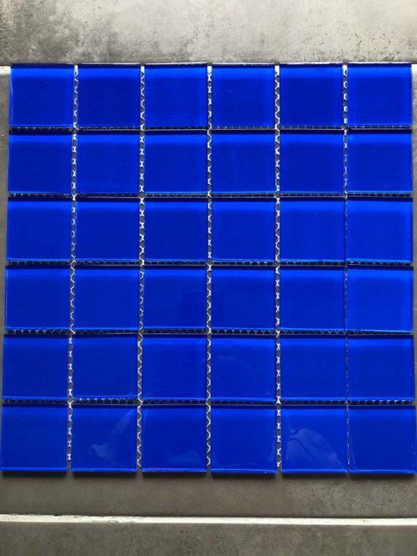 Pool Tiles Glass - Dark blue