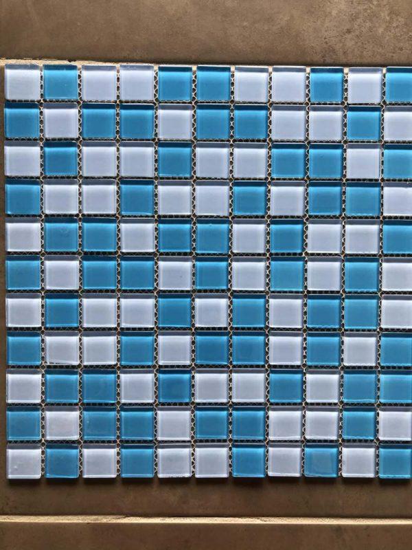 Pool Tiles Glass - Mix Blue
